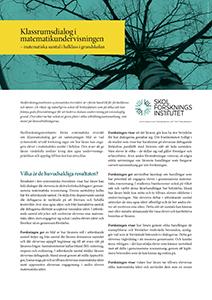 Informationsblad Klassrumsdialog i matematikundervisningen