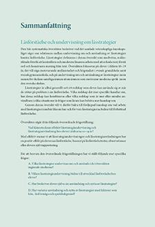 Sammanfattning Läsförståelse och undervisning om lässtrategier