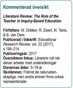 Korta fakta om den översikt som kommenteras i Lärarens roll när elever arbetar undersökande