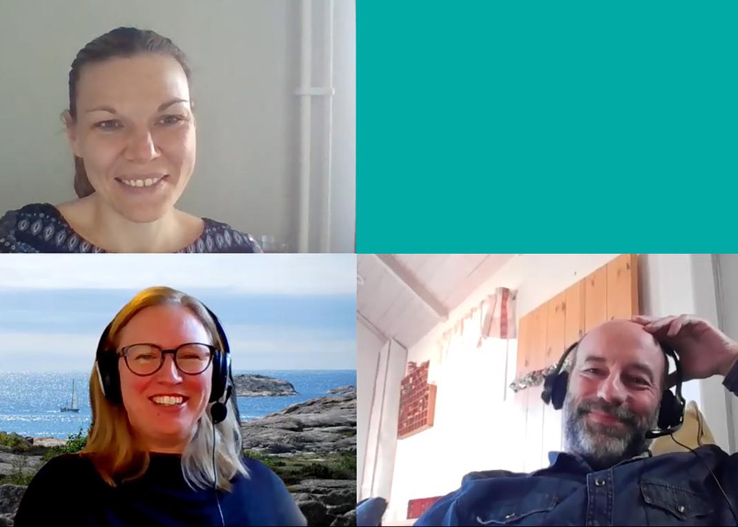 Alva Appelgren, Nina Kilbrink och Jan Axelsson under poddinspelningen