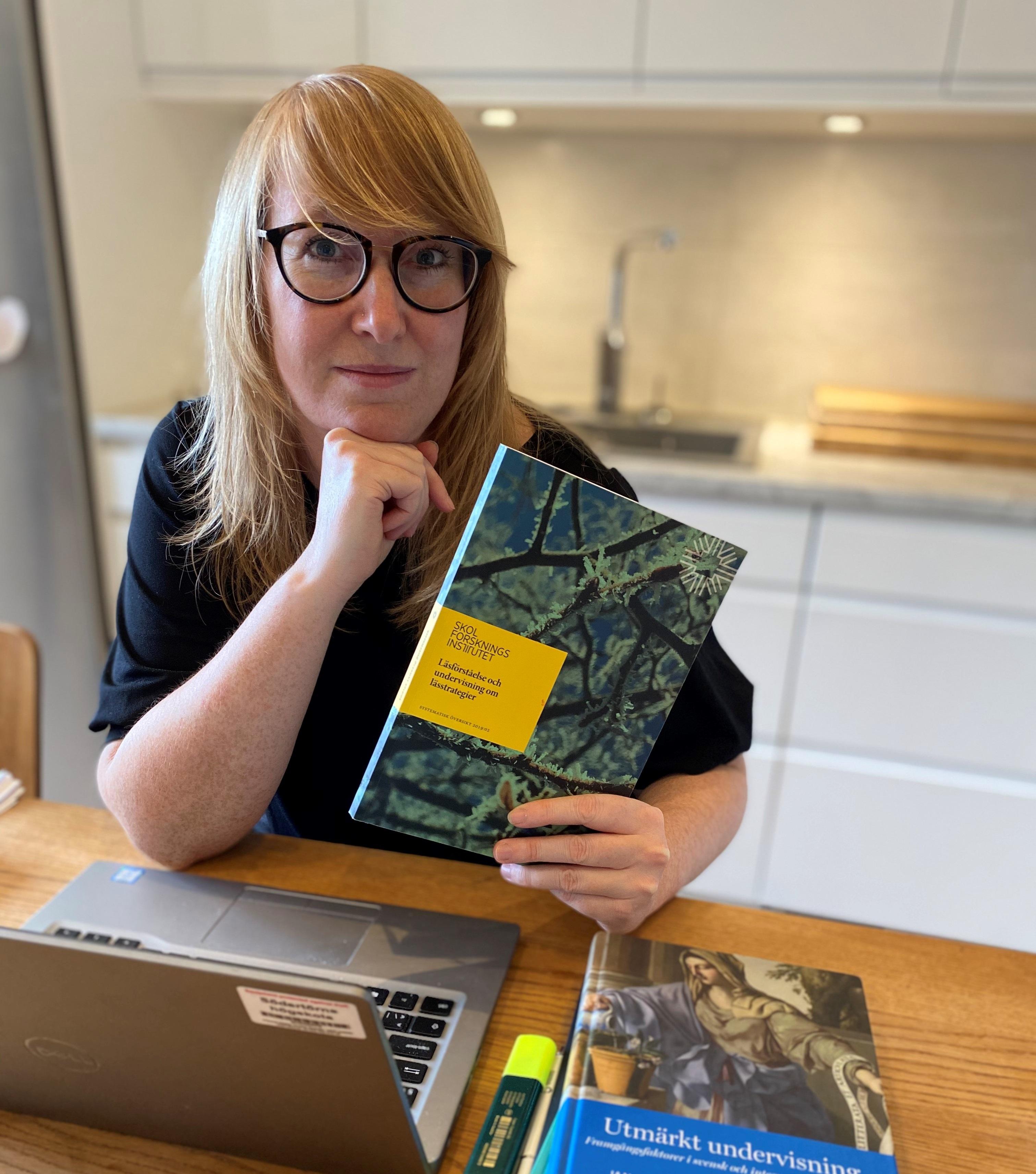 Linda Ekström som håller i översikten Läsförståelse och undervisning om lässtrategier
