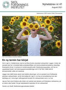 Nyhetsbrev nr 41 med bild på pojke med en mängd solrosor, samt text om att en ny termin har börjat