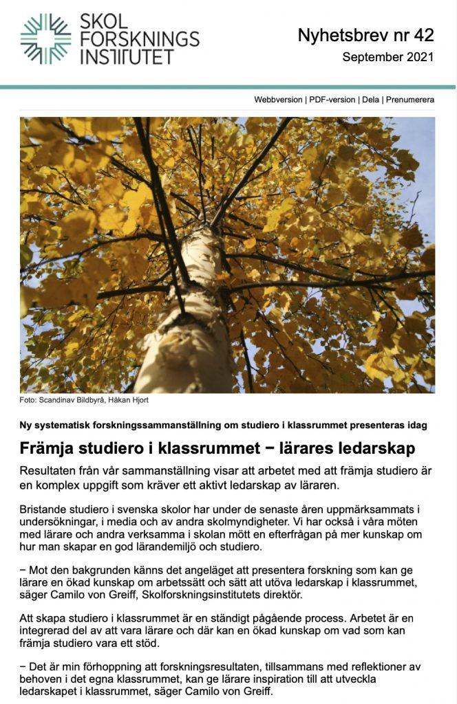 Nyhetsbrev nr 42 med bild på en björk med gula löv och text om den nya metaöversikten Främja studiero i klassrummet – lärares ledarskap